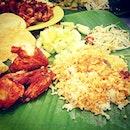 Banana leaf rice lunch at Raju's--my first time haha Yummmy
