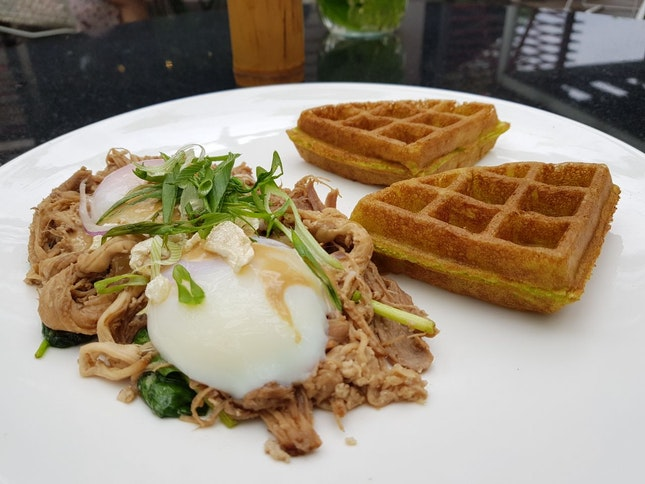 Pulled Pork Eggs Benedict With Spring Onion Waffles