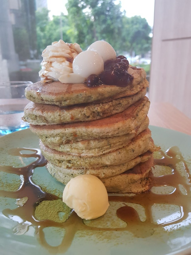 Matcha With rice ball And red bean pancake
