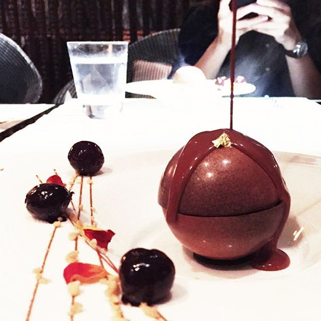 Homemade Saffron Gelato with Amaretti Biscuit and Amarena Cherry