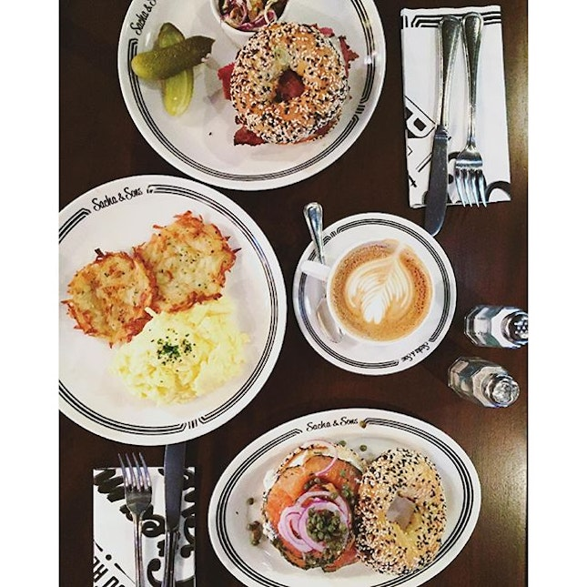 Reuben (Pastrami with Bagel), Scrambled Eggs with Latkes, Bagel with Herbed Cream Cheese & Gravlax Salmon