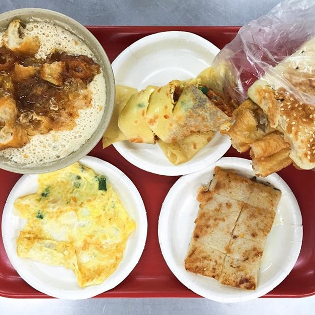 Salted Beancurd, Pork Floss & Egg Pancake Wrap, You Tiao Flatbread, Fried Radish Cake, Egg Flatbread