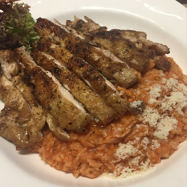 Tomato Risotto with Grilled Chicken