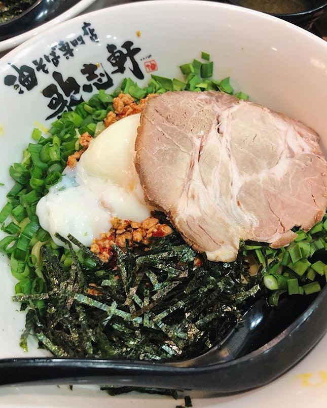 Kajiken's signature Mazesoba Nagoya Style ($12.80).  Love how the dry ramen noodles comes with spicy minced pork, soft boiled egg, and copious amounts of green onions and seaweed (😍!!!).