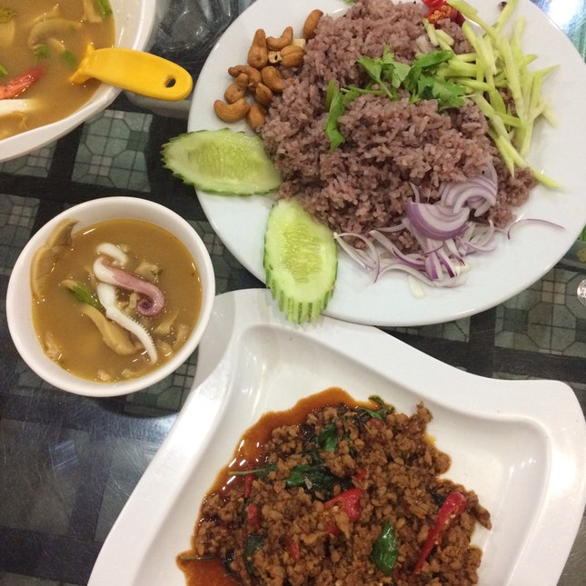 Olive Fried Rice, Spicy Basil Minced Pork, Seafood Tomyum Soup