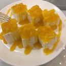 Almond Jelly With Mango & Mango Cubes Syrup