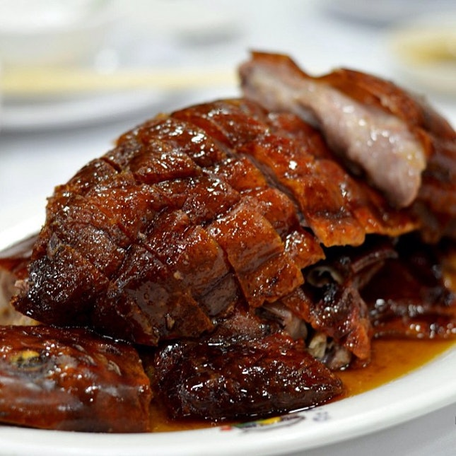 Roast goose with irresistible crisp skin and succulent meat.