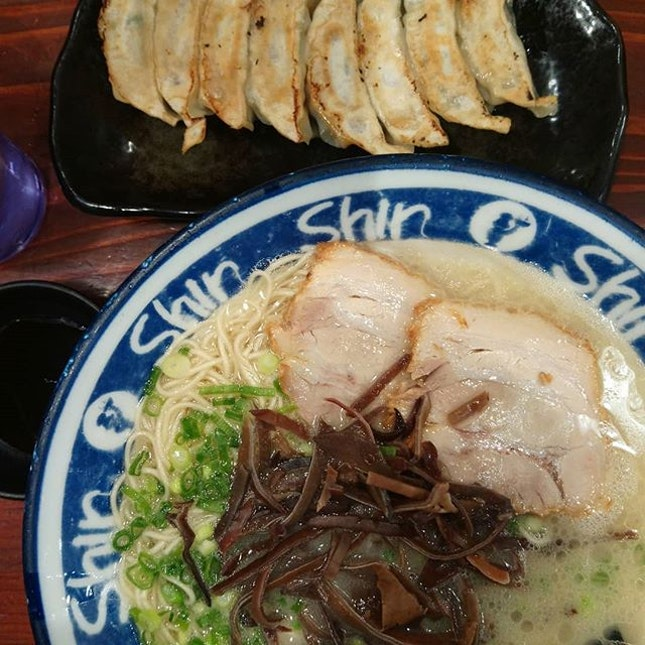 Cos in Fukuoka must #ramen and #gyoza  #tonkotsu #tonkotsuramen #noodlesoup #noodles #soup #japaneseramen #japanesefood  #japan #kyushu #fukuoka #hakata  #8dayseat #burpple #buzzfeast #buzzfeedfood #eeeeeats #feedfeed #foodphotography #foodporn #foodstagram #huffposttaste #hungrygowhere #igfoodies #mychefstable #thetravelintern #traveleats #whati8today #yahoofood