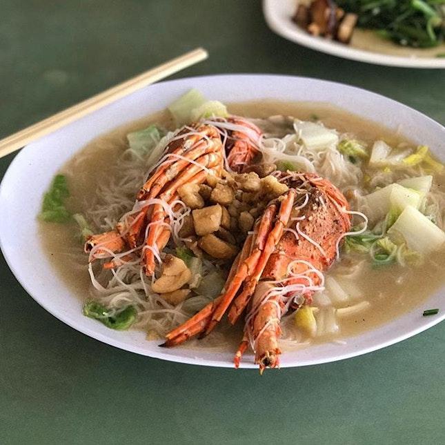 Lobster and Lala Bee Hoon at @woonwoonpekbeehoon .