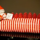 Doesn't this stripey Buon Natale Raspberry & Bronte Pistachio Cake remind you of Where's Wally?