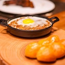 Soft, buttered buns with pipping hot, minced Masala Lamb plus egg.