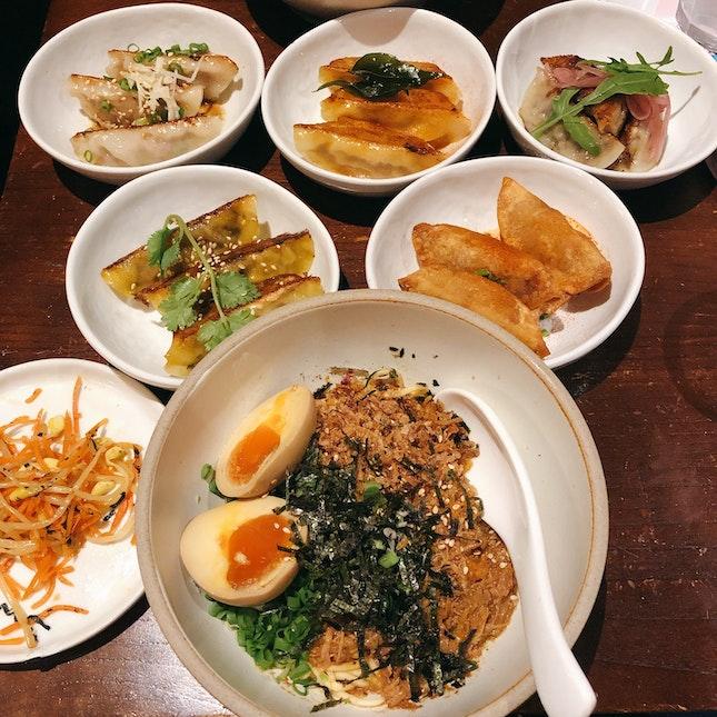 Dumpling Platter and Braised Pork Noodles