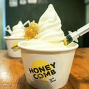 Honeycomb milk/yoghurt softserve to combat the awfully scorching heat in Singapore today!