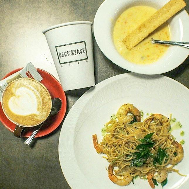 • Salted Egg Yolk Prawn Pasta Set Meal($17)•