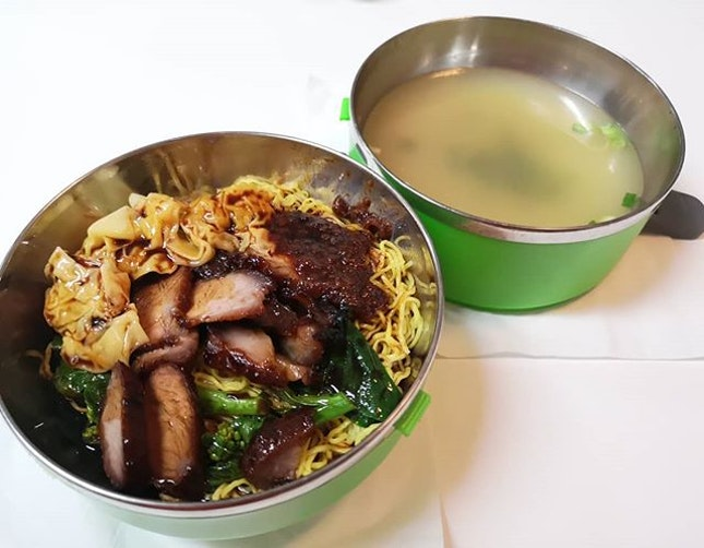 Char siew wanton noodles from Cantonese delights.