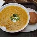 Curried Pumpkin And Seafood Bitsque