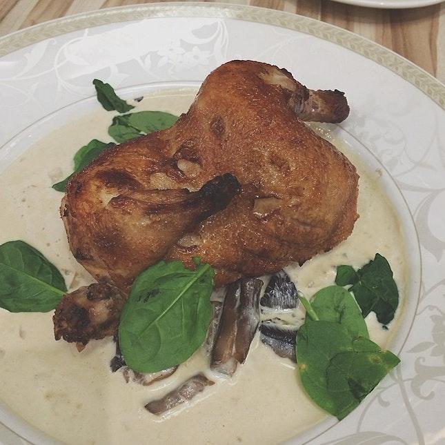 Poulet roti with mushroom Chardonnay sauce.