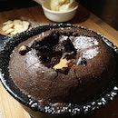 Welcome to the dark side- super delicious molten lava peanut butter cake.