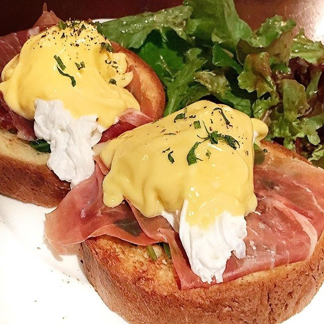Always a happy day with eggs Benedict.