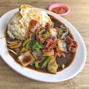 Black Pepper Beef Rice w/ Egg $8