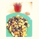Black Carrot Cake + Hot Tea for #lunch
