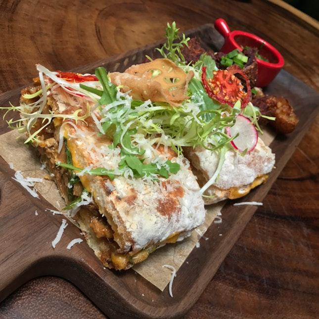 Kimchi Pork Belly Cheese Panini