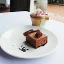 Yesterday's #dessert - Ménage à Trois, a trio of Valrhona #chocolate.
