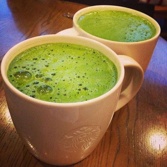 Beside double mocha, green tea latter.