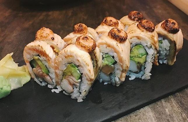 Salmon aburi   They look a little weird but they taste okay 🍙🥢