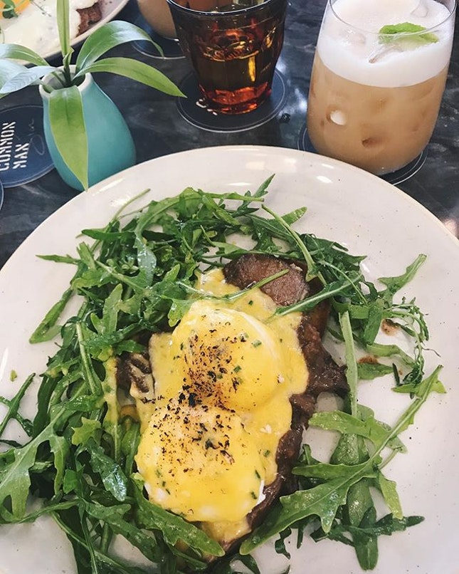 Eggs Benedict with braised Ox cheek and too much rockets