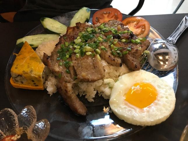 Broken Rice, BBQ Pork Chop, Egg Meatloaf, Sunny Side Up