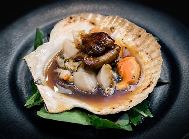 Jumbo Hotate Yaki, Grilled Jumbo Scallop ($8.00++) with additional topping of Foie Gras ($5.00++).