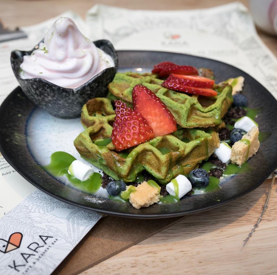 Matcha Mochi Waffles