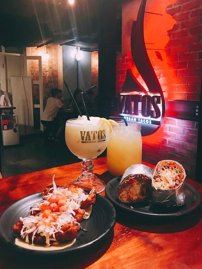 Baja Fish Taco, Fajita Classic Burrito & Two Drinks ($45)