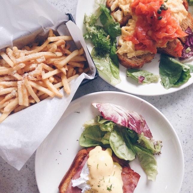 Eggs Ben, Truffle Fries, Salmon Croissant