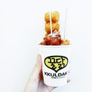 #Kkuldak Honey Chicken Balls from @kkuldaksg at Plaza Singapura - a small cup for $4.50, literally squashed and stuffed to the brim with #honeychicken and topped with a sprinkle of cheese.