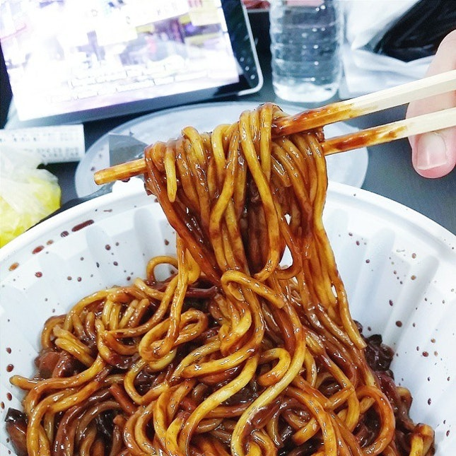 #Jajangmyeon craving satisfied while watching Running Man in our Airbnb apartment a few nights back ✔  And yes I think the tv dramas and shows don't lie when they show the actors/actresses slurping the noodles with relish - because that was what we did too!