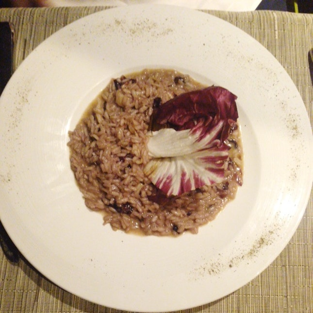Red Wine Risotto With Red Lettuce