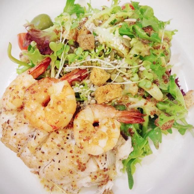 Seabass + Grilled Prawn Salad
