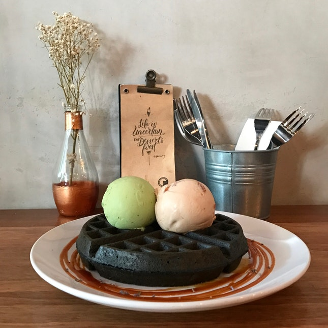 Matcha Sea Salt And Pu Er Tea Ice Cream With Charcoal Waffles