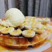 Waffles with D24 Durian and Durian Ice-Cream
