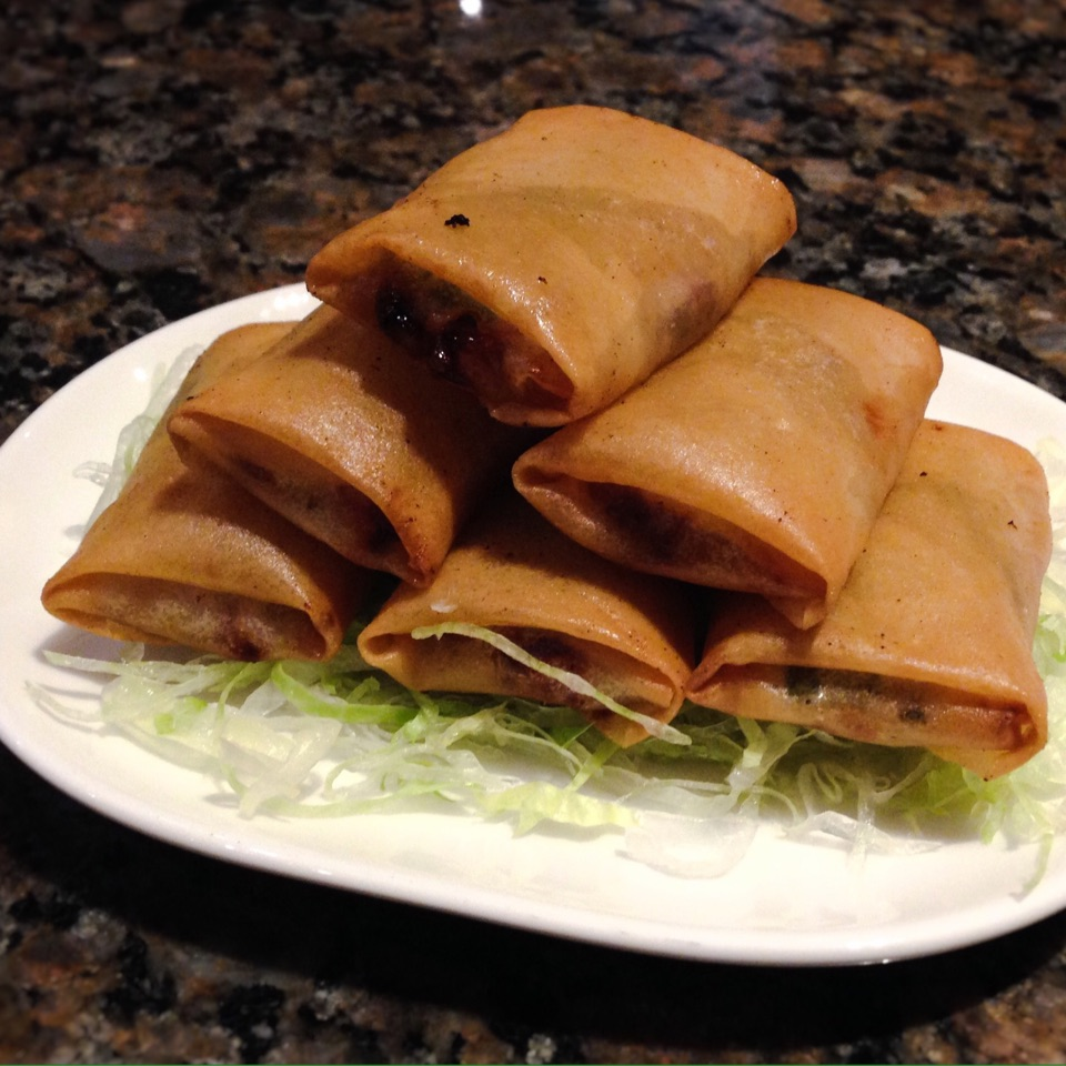 Sliced Duck in Crispy Spring Onion Pastry