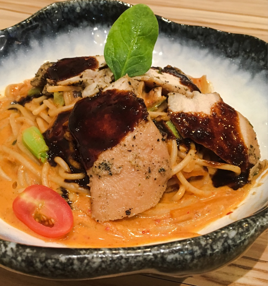 Korean-inspired Kimchi Chicken Pasta
