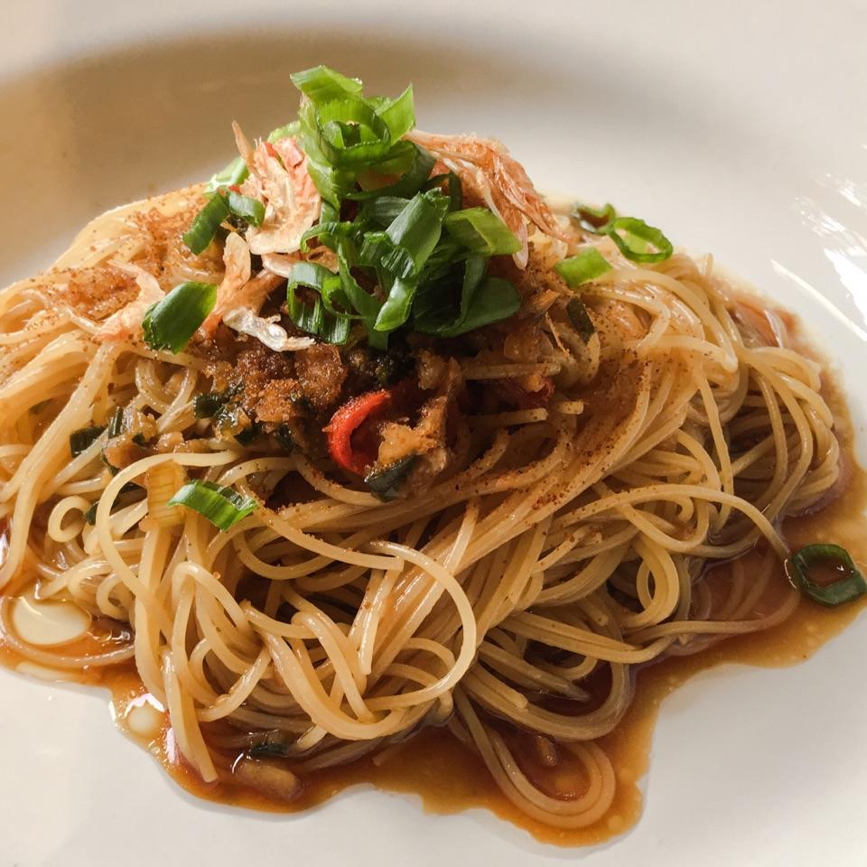 Angel Hair Pasta in Ginger Scallion Oil with Shrimp Roe