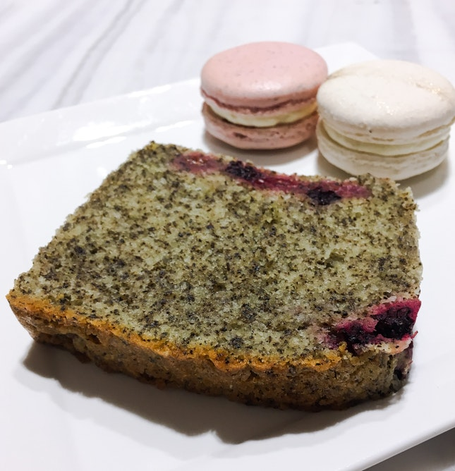 Earl Grey Blueberry Slice, Marc de Champagne & Rose Macaron