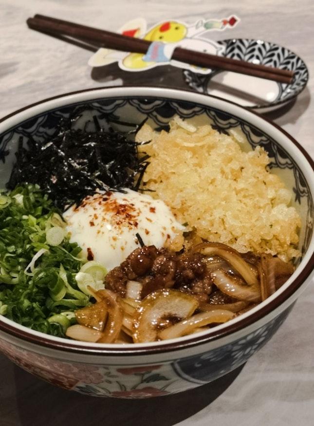 """Garlic Dry"" Beef Ma-ze Udon"