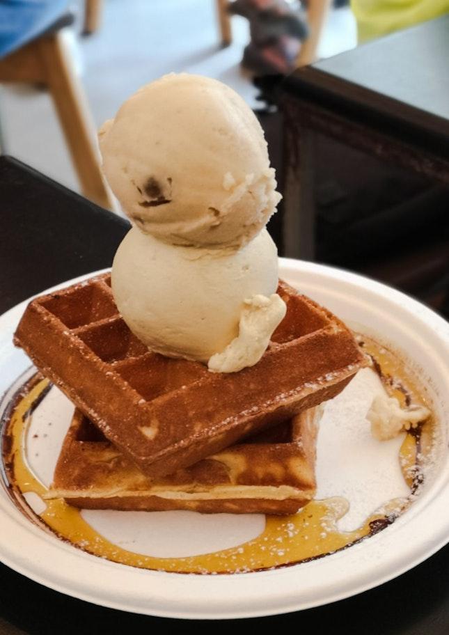 Buttermilk Waffles with Chng Tng Sorbet and Sea Salt Gula Melaka
