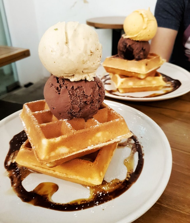 Waffles With Double Scoop (1 Standard, 1 Premium) [$13.60]