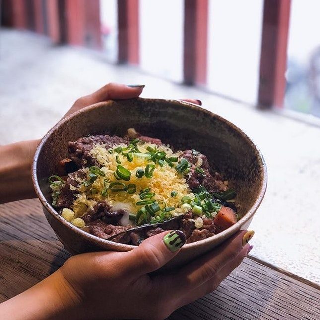 Picture in frame - Truffle karubi beef with sweet potatoes, topped with gooey creamy onsen egg.