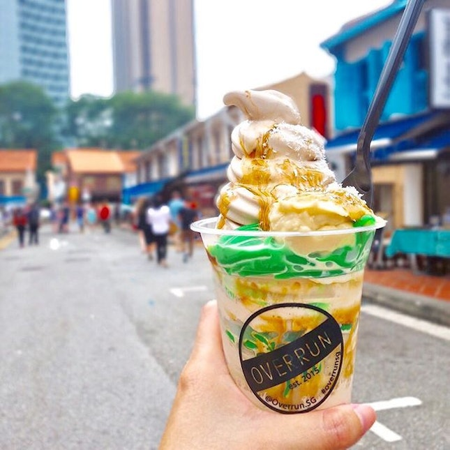 This chendol softserve has been overrun by the durian purée.